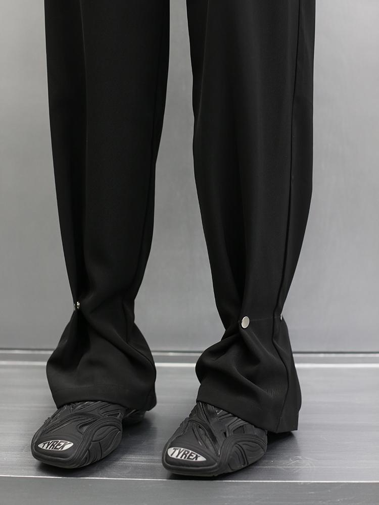 Mi F FUZZYKON original design spring and summer thin and smooth black dark button-down leg trousers