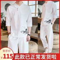 Chinese style Chinese ethnic style Tang suit big yards suit male retro casual youth cotton embroidery two sets of hanfu