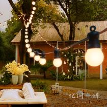 户外庭院灯别墅花园装饰彩灯阳台串灯防水挂灯小灯泡院子布置家用
