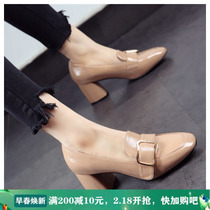High-heeled lady shoes 2020 spring new with British wind rough with wild Square small leather shoes loafer shoes
