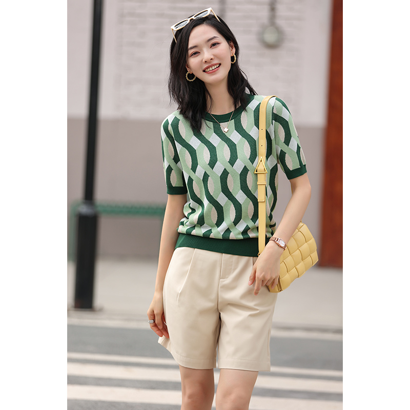 Ice silk knitwear Womens color stripes retro jacquard short sleeve summer loose thin section top crew neck bottom shirt sweater