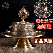 Pure copper Manza plate Exquisite hand-carved Buddha Hall seven treasure Manza plate Nepal craft send gemstones