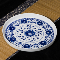 Ceramic tea plate practical simple large small tray plus a single layer of double-layered blue porcelain Chinese glaze under the color round type