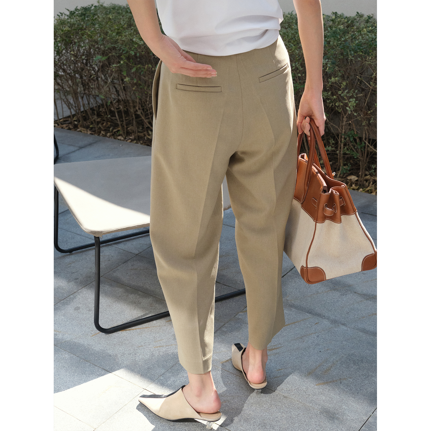 MRS Studios early spring new wild pants show thin high-waisted three-dimensional tapered nine-point suit pants