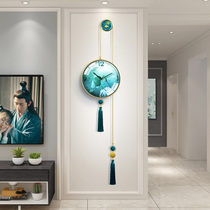 Atmospheric silent wall clock living room new Chinese home clock fashion creative light luxury modern minimalist decorative wall