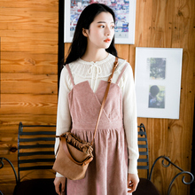 Plum cooked literary corduroy waist dress retro pink dress female 2018 spring new