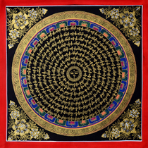 Nepal Tibet Pure Hand-painted tangka six word truth spell wheel when the wheel of the turn of the black parlour decorative painting bonding