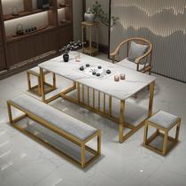 Light luxury rock plate tea table and chair combination Modern wrought iron store tea table Office Gongfu tea table Tea set one