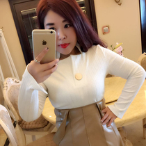 Sugar addiction to plus size womens clothing spring 2017 to cultivate temperament long sleeves stand collar sweater coat fat sister Chao