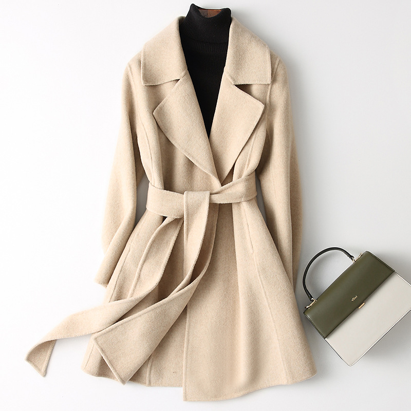 Small hair coat woman autumn and winter medium long version of small fragrance wool double-sided coat 2020 new cashmere