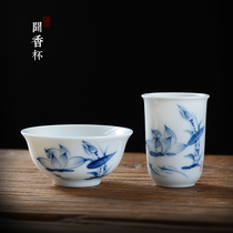 Smell cup set tea ceremony kung fu tea set tea art show hand-painted qinghua porcelain tea cup ceramic cup tasting cup
