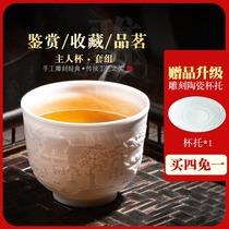Jingdezhen Ceramic carving Zodiac master cup Single cup Tea cup Gongfu Tea Set Personal gift cup Small tea bowl
