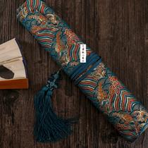 Fukuyama Shouhai handmade fan shaft Silkbrocade satin six-union Su Gong folding fan fan bag Haqing 95 inches below universal
