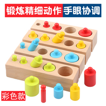 Baby Montessori teaching aids 1-2-3 years old boys and girls early education puzzle socket blocks fine motor training toys