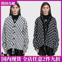 WE11DONE early spring knitted full print LOGO long sleeve sweater double-sided sweater button wool cardigan coat women