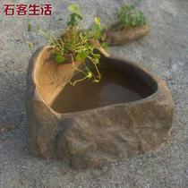 Natural stone small fish tank water landscape fountain pit stone tank tank fish pond Landscape Design Humidifier Decoration