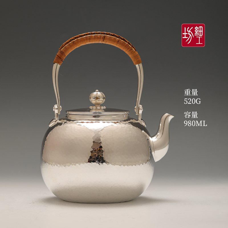 Japan imported silver pot pure silver 999 kettle brewing tea to make teapot tea ceremony home pure hand-crafted fine workshop silver pot