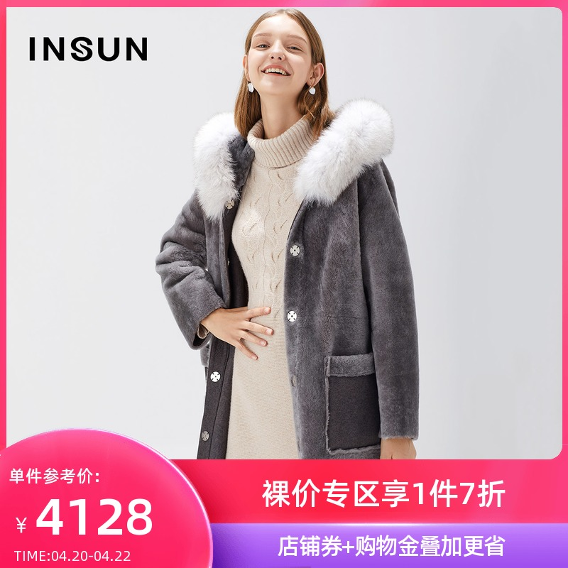 (extremely cold series) En yu warm sheepskin fur one-in-one hooded fox hair collar in the long fur coat