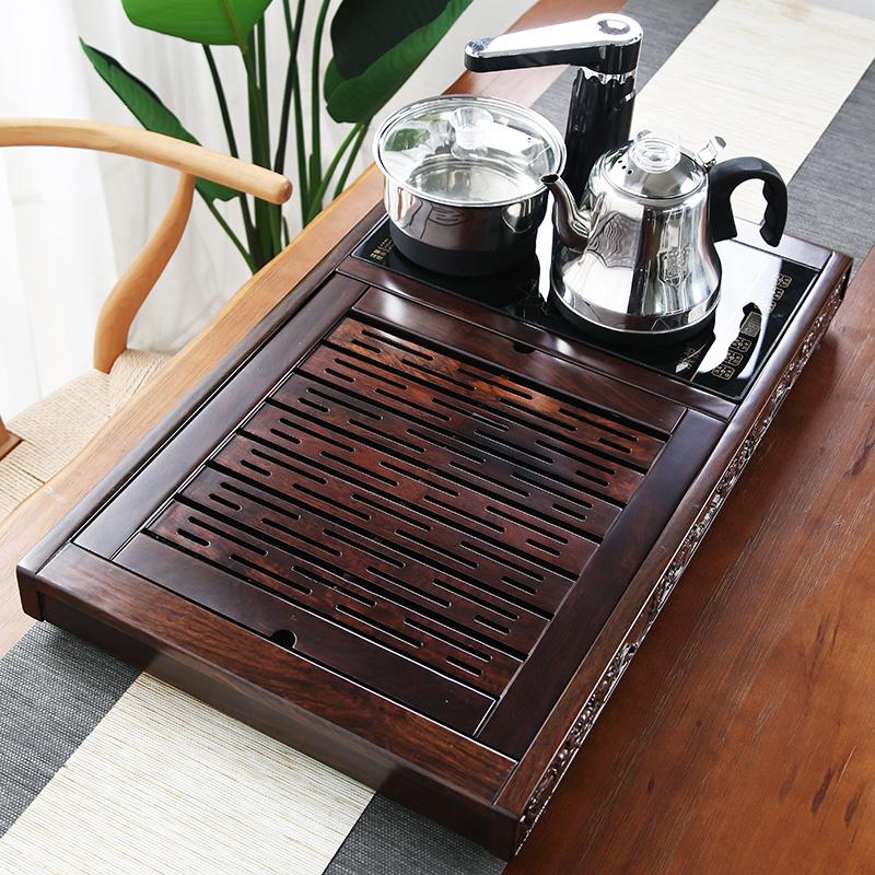 Ebony tea plate home solid wood tea plate set fully automatic all-in-one home office tea table teapot tea sea small