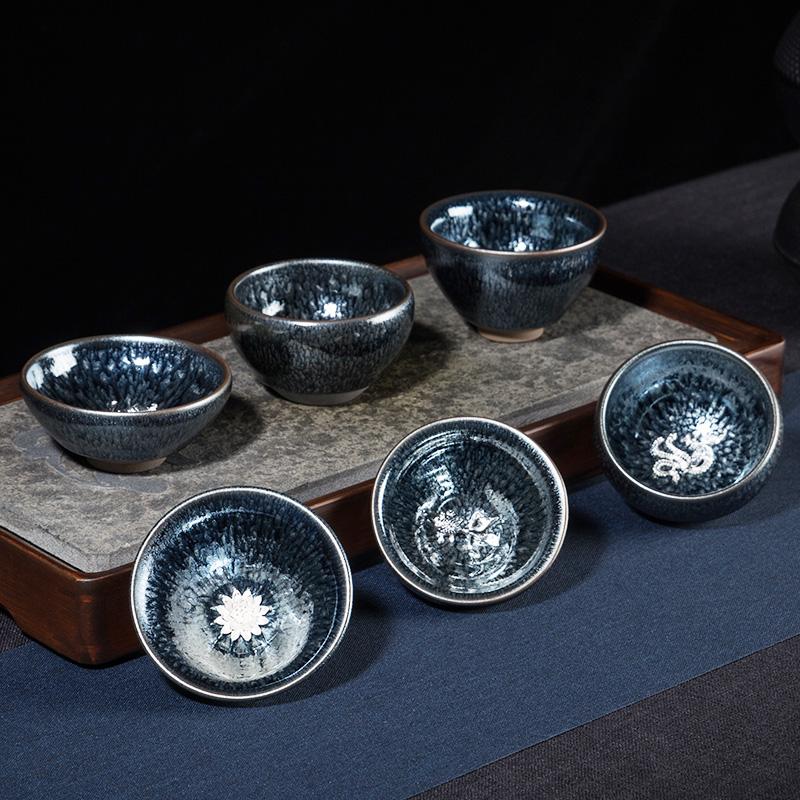 Jiandang teacum master cup hundred flower lamp ceramic large kung fu household rabbit milli-lamp cup tea with tianye tea single cup