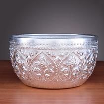 Rice bowl carving import tableware supplies Thai tin bowl dining room Thai decoration Thai handmade American Southeast Asia spa