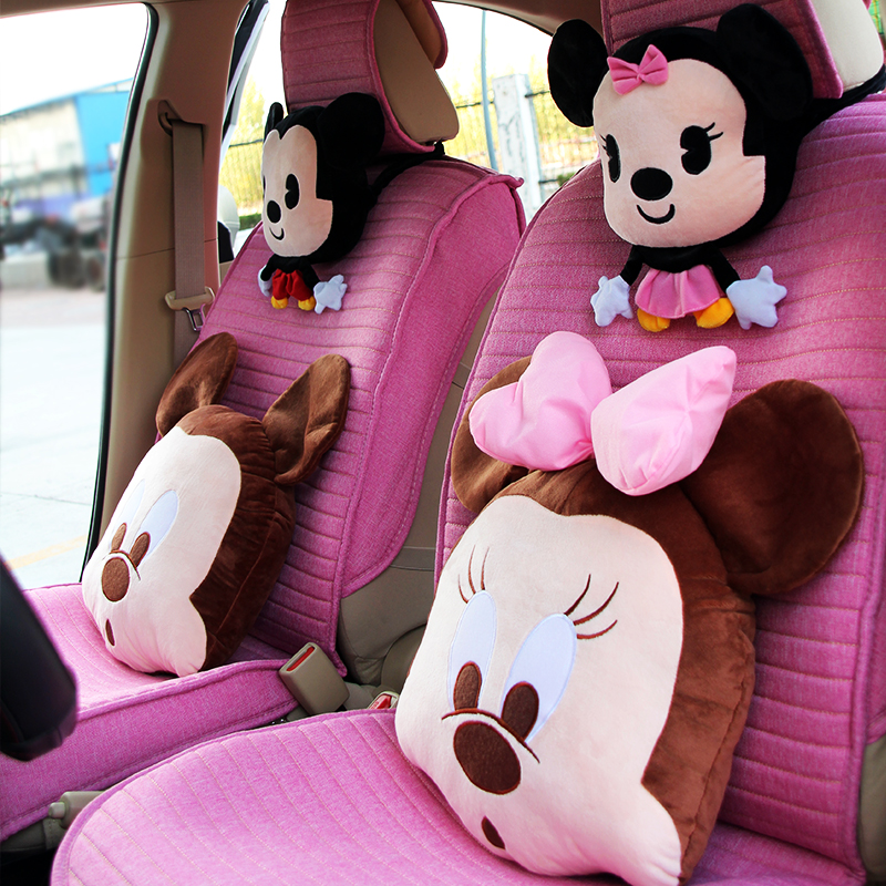 Car Headrest and Neck Pillow A Pair of Cartoon Cute Cartoon Headrest and Neck Pillow for Car