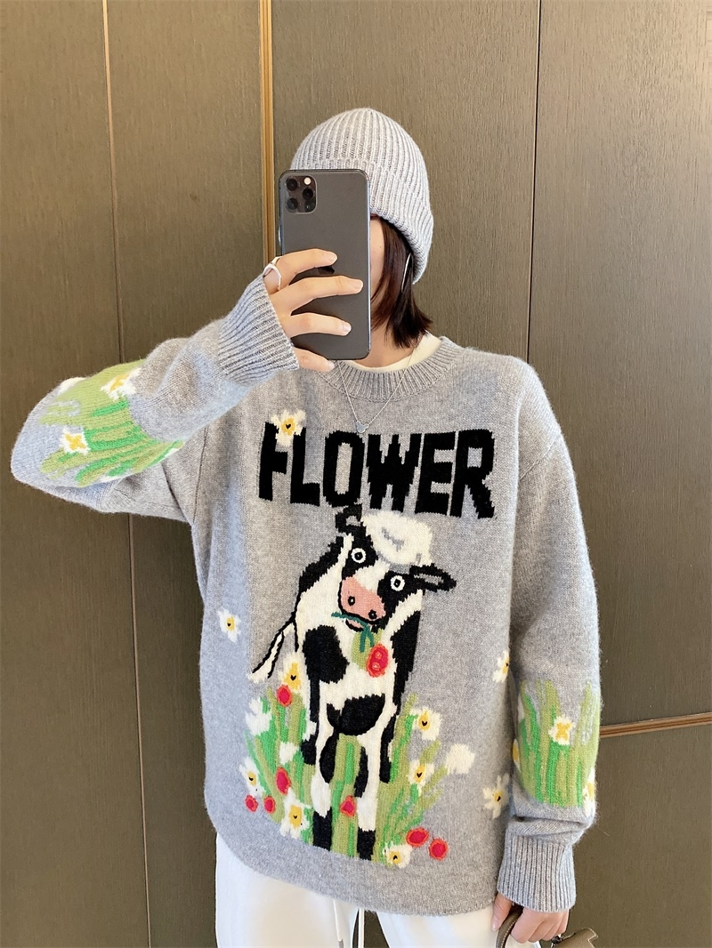 (Chen Tai France) sandro 20 autumn and winter new cartoon cow kale loose set head cashmere sweater girl