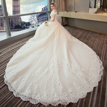 A word shoulder Korean version luxurious palace show Thin dream spring and summer wedding dress