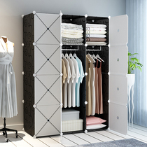 Wardrobe simple assembly fabric modern minimalist rental room bedroom home wardrobe hanging imitation solid wood storage cabinet