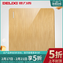 Delixi socket panel Champagne Gold 3D drawing large plate one open multi-control switch 86 type Wall