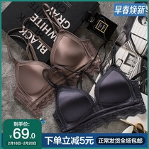 French underwear set womens underwear set bra small chest gather confusion no rims sexy lace no trace thin models
