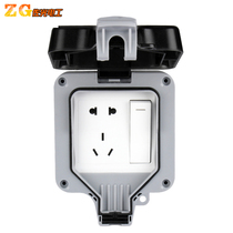 10A five-hole outdoor waterproof socket rainproof IP66 outdoor open and concealed household 250V socket