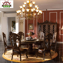 American dining tables and chairs combine real pickup wooden round table luxury marble dining tables and chairs combination leather backrest chair