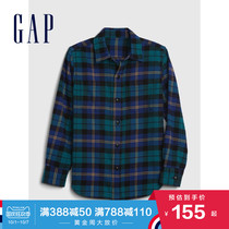 Gap boys fashion grid print long-sleeved shirt autumn winter 615445 2020 new simple childrens top