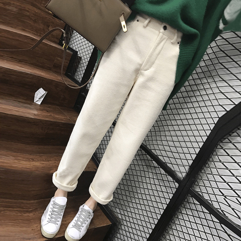 White wicked velvet pants 蔔 straights loose autumn winter 2020 new fashionable plus-down womens pants