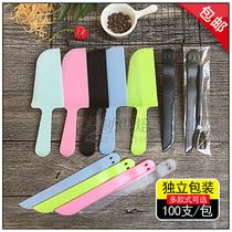 Couteau jetable gâteau danniversaire couteau et fourchette épaissie mat plateau en plastique Lame de couteau indépendant emballage 100