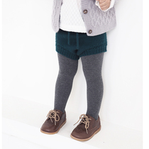 (Yoki children) children imported Merino Wool knit shorts pp designer belly baby high waist pants recommended