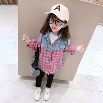 Girls cowboy shirt 2020 new spring and autumn western Korean version of the outer wear shirt baby shirt childrens spring jacket