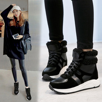 2016 winter high-top shoes to help women in the bottom of the Korean version of warm wild fur cotton shoes and flat-bottomed sneakers