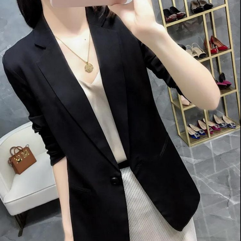 Black small suit women 2021 spring summer new slim slim thin three-point sleeves large size drooping suit jacket