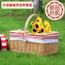 Outdoor picnic basket vine ins wind picnic basket French insulation picnic basket spring tour supplies net red basket