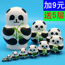 Russian set 10-storey authentic pure handmade creative childrens toys gift ornaments dried Lime wood Panda 029