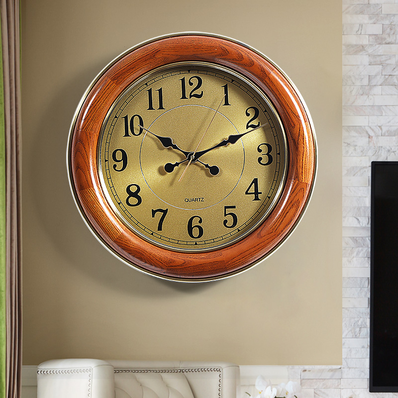 American light luxury solid wood wall clock