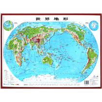 (3D engraving &  kids) 2018 New edition of World terrain Map 54*37cm Geographic Three-dimensional map wall chart student learning Graphic Bo technology three-dimensional bump four open