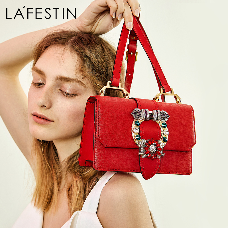 Lafite 2018 Korean version of the new female bag shoulder bag diamond bag small bag Messenger bag retro postman small square bag