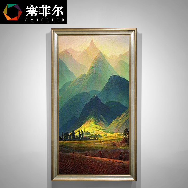 Giant Mountain Oil Paintings American Hand-painted Points Decorative Paintings European Vertical Corridor Hanging Paintings Landscape Paintings