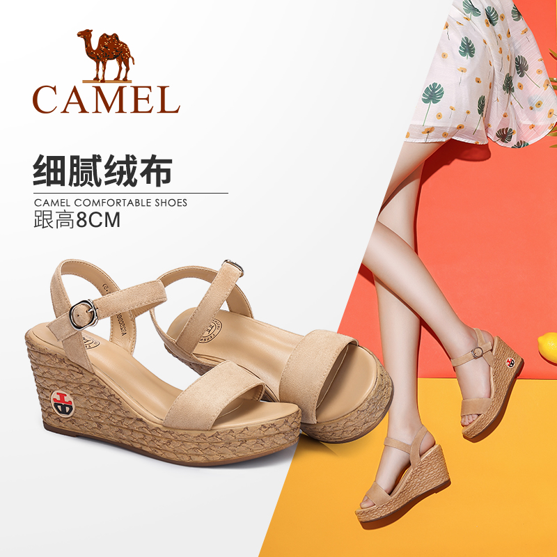 Camel women's shoes 2018 summer new wedge sandals thick bottom wild women's sandals fashion high heels