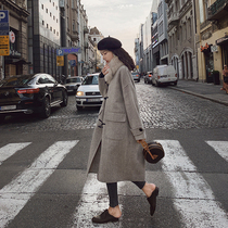 Gray horn buckle double-sided cashmere coat female 2019 autumn and Winter new plaid wool coat over the knee in the long section