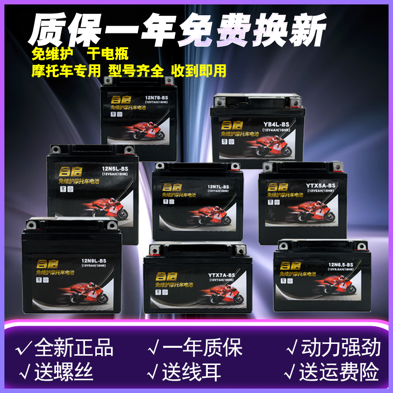 Motorcycle battery 12v maintenance-free 9A moped 125 scooter 7A curved beam car universal dry battery battery