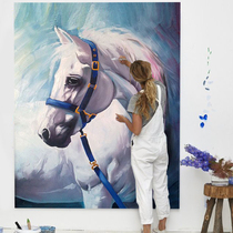 Hand-painted oil painting horse modern large decoration painting European Xuan Guan painting Office mural Custom Size